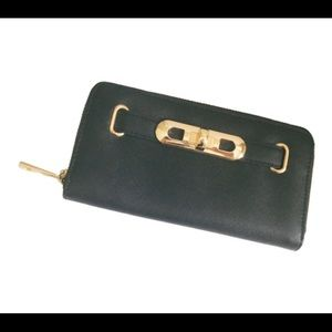 F&F Wallet. Black. Gold accents.